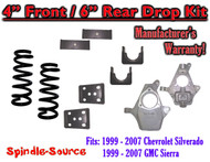 "1999 - 2007 Chevrolet Silverado / GMC Sierra 1500 V8 4"" / 6"" Lowering Drop kit"