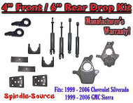 "1999 - 2007 Chevrolet Silverado GMC Sierra 1500 4WD 4"" / 6"" Drop Kit + Shocks"