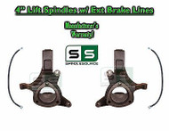 "1999 - 2007 Chevy Silverado 1500 GMC Sierra 2WD 4"" Lift Spindles + BRAKE LINES"