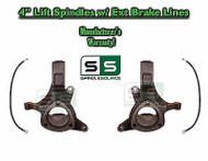 "1999 - 2007 Chevy Silverado 1500 GMC Sierra 2WD 4"" Lift Spindles + BRAKE LINES"