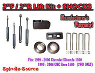 "1999 - 2007 Chevy Silverado GMC Sierra 1500 2WD LEVELING KIT 3"" / 3"" + SHOCKS"