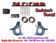 "1999 - 2007 Chevy Silverado GMC Sierra 1500 FULL Spindle 5"" Lift Kit 5"" / 4"" NBS"