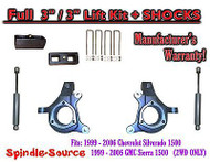 "1999 - 2007 Chevy Silverado GMC Sierra 1500 Spindle 3"" Lift Kit 3"" / 3"" + SHOCKS"