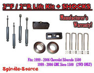 "1999 - 2007 Chevy Silverado GMC Sierra 1500 2WD LEVELING KIT 3"" / 2"" + SHOCKS"