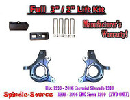 "1999 - 2007 Chevy Silverado GMC Sierra 1500 FULL Spindle 3"" Lift Kit 3"" / 2"" NBS"