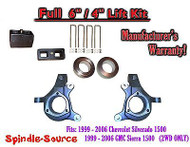 "1999 - 2007 Chevy Silverado GMC Sierra 1500 FULL Spindle 6"" Lift Kit 6"" / 4"" NBS"