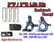 "1999 - 2007 Silverado Sierra 1500 3"" LIFT Spindles AND 3"" Rear Blocks 3""/3"" KIT"