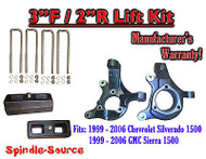 "1999 - 2007 Silverado Sierra 1500 3"" LIFT Spindles AND 2"" Rear Blocks 3""/2"" KIT"