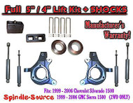 "1999 - 2007 Chevy Silverado GMC Sierra 1500 Spindle 5"" Lift Kit 5"" / 4"" + SHOCKS"