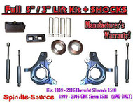 "1999 - 2007 Chevy Silverado GMC Sierra 1500 Spindle 5"" Lift Kit 5"" / 3"" + SHOCKS"