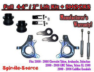 "2000 - 2006 Chevrolet GMC 1500 4-6"" / 3"" Lift Kit Spindles Spacer EXT + SHOCKS"
