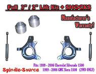 "2000 - 2006 Chevrolet GMC 1500 3"" / 2"" Lift Kit Spindles Spacer SUVs + SHOCKS"