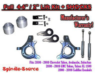 "2000 - 2006 Chevrolet GMC 1500 4-6"" / 2"" Lift Kit Spindles Spacer EXT + SHOCKS"