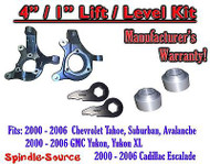 "2000 - 2006 Chevrolet GMC 1500 4"" / 1"" Lift Kit Spindles Spacer Keys Chevy 00-06"