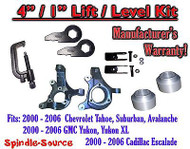 "2000 - 2006 Chevrolet GMC 1500 4"" / 1"" Lift Kit Spindles Spacer Keys EXT + TOOL"