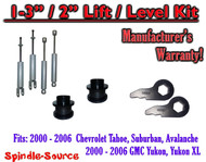 "2000 - 2006 CHEVY GMC 1500 SUVs tahoe yukon 1-3"" Keys / 2"" Leveling Kit + SHOCKS"