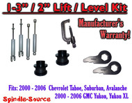 "2000 - 2006 CHEVY GMC 1500 SUVs tahoe 1-3"" Keys / 2"" Leveling Kit Tool + SHOCKS"