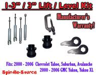 "2000 - 2006 CHEVY GMC 1500 SUVs tahoe 1-3"" Keys / 3"" Leveling Kit Tool + SHOCKS"