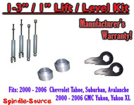 "2000 - 2006 CHEVY GMC 1500 SUVs tahoe yukon 1-3"" Keys / 1"" Leveling Kit + SHOCKS"