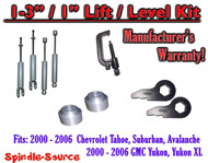 "2000 - 2006 CHEVY GMC 1500 SUVs tahoe 1-3"" Keys / 1"" Leveling Kit Tool + SHOCKS"