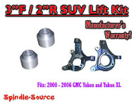 "2000 - 2006 GMC Yukon Yukon XL 1500 SUV 2WD 3"" / 2"" Lift Kit Spindles 00-06"