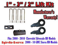 "2000 - 2010 CHEVY GMC 2500 3500 HD Silverado Sierra 1"" - 3"" Keys + 2"" Blocks"