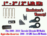 "2000 - 2010 CHEVY GMC 2500 3500 HD Silverado Sierra 3"" Keys + 2"" Blocks + Extend"