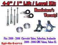 "2000- 2006 Chevrolet GMC 1500 4"" - 6"" / 1"" Lift Kit Spindles key Spacer + SHOCKS"
