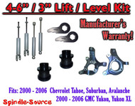 "2000- 2006 Chevrolet GMC 1500 4"" - 6"" / 3"" Lift Kit Spindles key Spacer + SHOCKS"