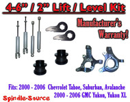 "2000- 2006 Chevrolet GMC 1500 4"" - 6"" / 2"" Lift Kit Spindles key Spacer + SHOCKS"