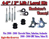 "2000- 2006 Chevrolet GMC 1500 4"" - 6"" / 2"" Lift Kit Spindles key Spacer + SHOCKS"