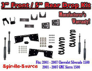 "2001 - 07 Chevrolet Silverado GMC Sierra V8 3"" / 5"" Lower Drop + SHOCKS +C-NOTCH"