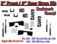 "2001 - 07 Chevrolet Silverado GMC Sierra V6 3"" / 6"" Lower Drop + SHOCKS +C-NOTCH"