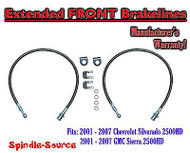 2001 - 07 Chevy Silverado GMC Sierra 2500HD Stainless Steel Extended Brake Lines
