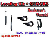 "2002 - 2005 Dodge RAM 1500 4x4 4WD 1"" - 3"" Torsion Leveling Keys + Shocks + TOOL"