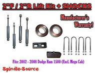 "2002 - 2008 Dodge Ram 1500 2WD 2F / 2R inch Coil Spacer Block Lift 2"" + SHOCKS"