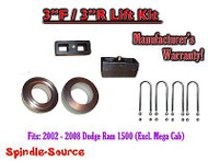 "2002 - 2008 Dodge Ram 1500 2WD 3"" inch Coil Spacer Block Lift Level Kit 3F / 3R"