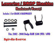 "2002 - 2008 Dodge Ram 1500 2"" Drop Lowering Shackles 2WD 4x4 + Grade 8 hardware"