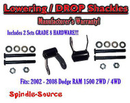 "2002 - 2008 Dodge Ram 1500 2"" Drop Lowering Shackles 2WD 4x4 Grade 8 hardware x2"