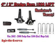 "2002 - 2008 Dodge Ram 1500 2WD 4"" Front 2"" Rear Spindle Lift Kit W/ REAR SHOCKS"