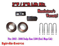 2002 - 2008 Dodge Ram 1500 2WD 3F / 2R inch Coil Spacer Block Lift Level Kit 3""