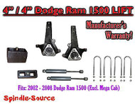 "2002 - 2008 Dodge Ram 1500 2WD 4"" Front 4"" Rear Spindle Lift Kit W/ REAR SHOCKS"
