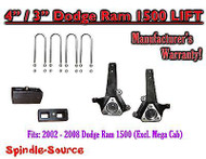 "2002 - 2008 Dodge Ram 1500 2WD 4"" Front 3"" Rear Spindle Block Lift Kit 02-08"