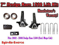 "2002 - 2008 Dodge Ram 1500 2WD 7"" Front 3"" Rear Spindle Coil Block Lift Kit"