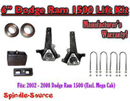 "2002 - 2008 Dodge Ram 1500 2WD 6"" Front 4"" Rear Spindle Coil Block Lift Kit"