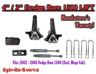 "2002 - 2008 Dodge Ram 1500 2WD 4"" Front 3"" Rear Spindle Lift Kit W/ REAR SHOCKS"