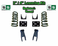 "2002 - 2008 Dodge Ram 1500 V6 2"" / 4"" Lowering Drop Kit 2WD Coils Flip Shackles"