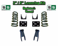 "2002 - 2008 Dodge Ram 1500 V8 3"" / 5"" Lowering Drop Kit 2WD Coils Flip Shackles"