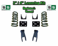 "2002 - 2008 Dodge Ram 1500 V8 3"" / 4"" Lowering Drop Kit 2WD Coils Flip Shackles"