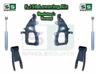 "2004 - 2008 Ford F-150 2WD 2"" / 3"" Drop Lowering Kit Spindles Shackles + SHOCKS"